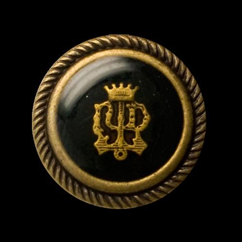 Edle Blazerknöpfe mit Wappen und Krone in altmessing & schwarz