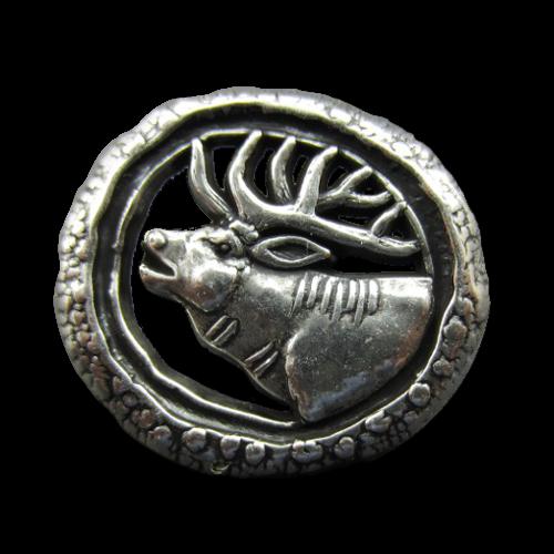 Trachtenknöpfe aus Metall mit Motiv: Röhrender Hirsch