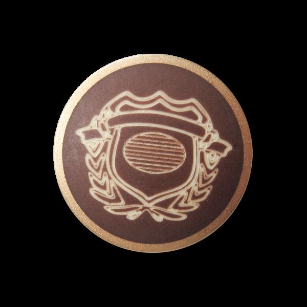 Mittelbraun goldfb Metall Knopf m. naturweißem Wappen