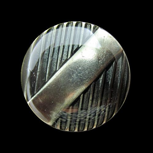 Bläulich-graue Knöpfe mit Streifen unter Lack
