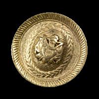 Altgoldfarbener Wappenknopf aus Metall