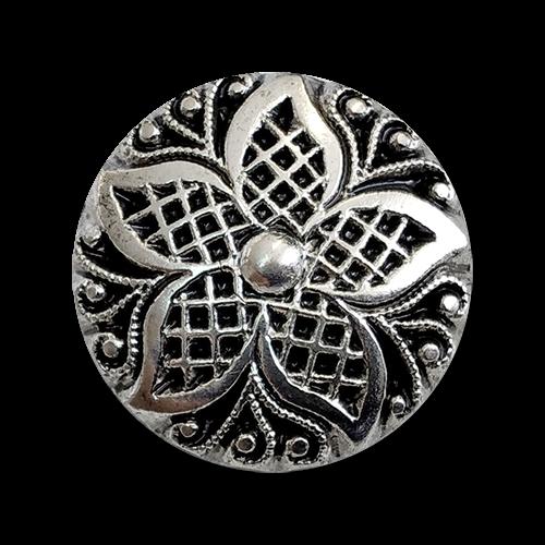 www.knopfparadies.de - 2184as - Silberfarbene Designerknöpfe aus Kunststoff