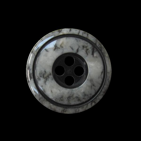 Eleganter grau marmorierter Vierloch Kunststoff Knopf