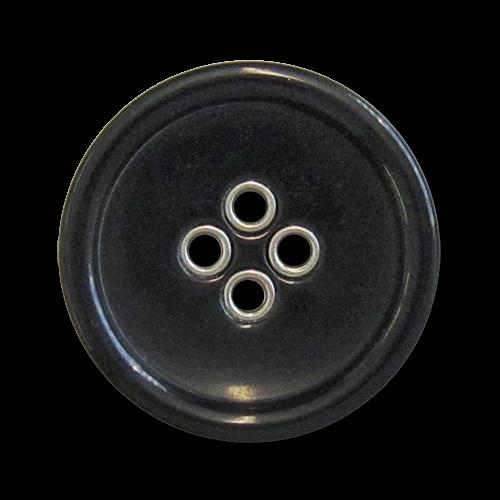 www.knopfparadies.de - 5981sg - Schwarz glänzende Kunststoffknöpfe mit silberfarbenen Löchern