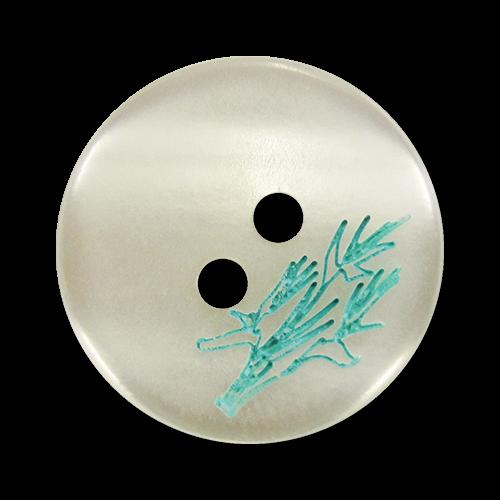 www.Knopfparadies.de - 1647gw - Weiße Zweiloch Kunststoffknöpfe mit Tannenzweig