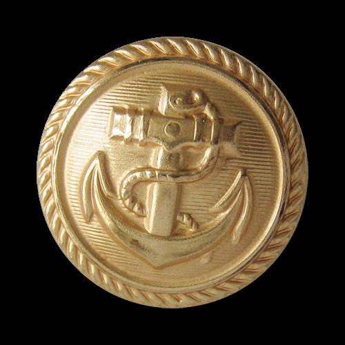 Hochwertig verarbeitete, goldfarbene Uniformknöpfe aus Metallblech mit Marine Motiv