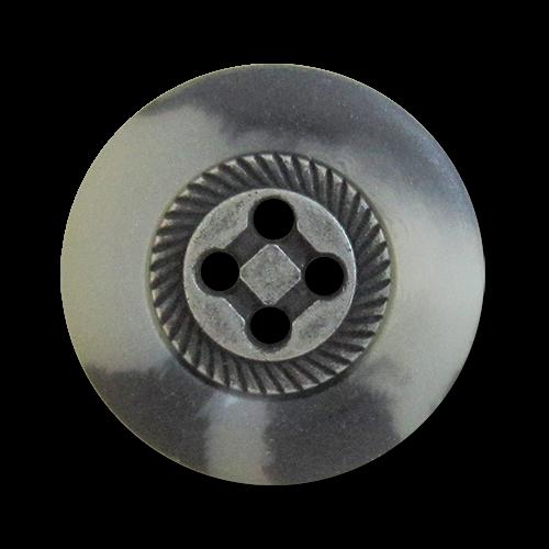 www.knopfparadies.de - 1014ds - Vierlochknöpfe mit Metallmitte und Kunststoffrand