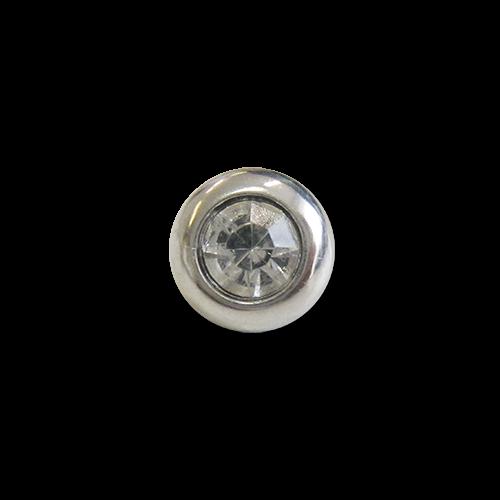 www.knopfparadies.de - 3420si - Silberfarbene Kunststoffknöpfe mit Glitzerstein