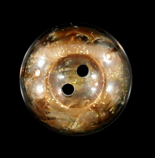 Schwarz-caramel perlmuttartiger Knopf mit Gold Glitter