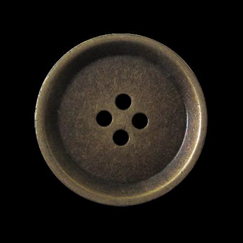 Schlichter Vierloch Metallknopf in Altmessingfarben
