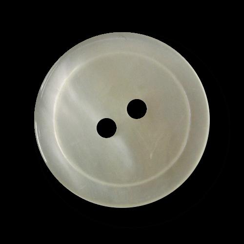 Zeitloser perlmuttweißer Zweiloch Knopf aus Kunststoff