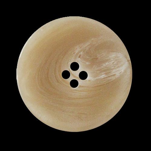 www.Knopfparadies.de - 4009hb - Elegante Kunststoffknöpfe in beige weiß melierter Hornoptik
