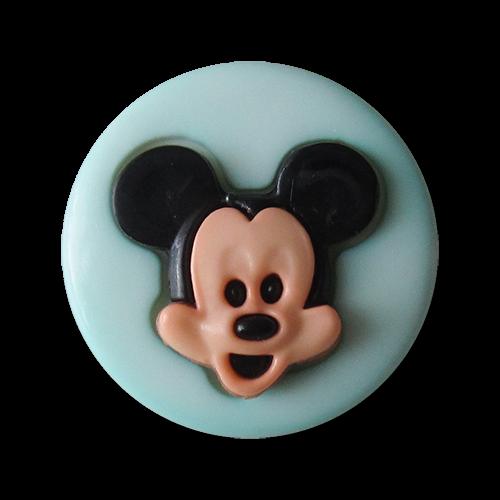 www.Knopfparadies.de - 1435hb- Pfiffige mintfarbene Kinderknöpfe mit Mickey Maus