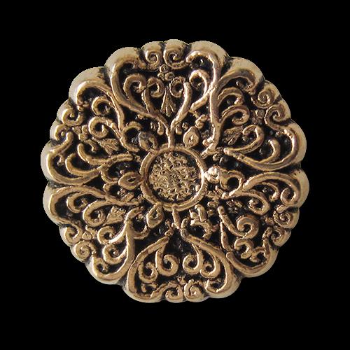 www.Knopfparadies.de - 5413ag - Zauberhafte Metallknöpfe in Altgold wie nostalgische Blume