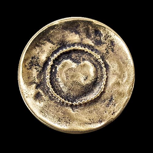Metall Ösen Knopf in antiker Altgold Optik mit Herz