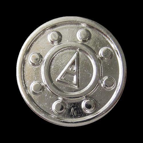 www.Knopfparadies.de - 3497si - Silberne Metallknöpfe mit geometrischem Motiv