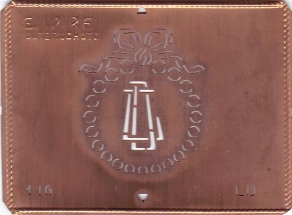 Stilvolle Jugendstil Kupfer Schablone mit Kranz und Schleife - Rarität - LD