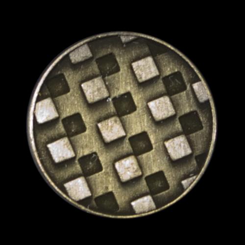 Moderner Metall Knopf mit graphischem Viereck Muster