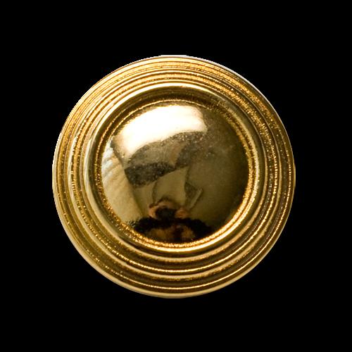 Große goldfarbene Metall Ösen Knöpfe mit drei Zierkreisen