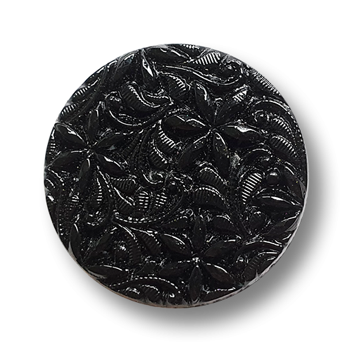 www.knopfparadies.de - vg0008sc-28 - Restposten: Besonders attraktiver schwarzer Glasknopf mit Blütenmotiv