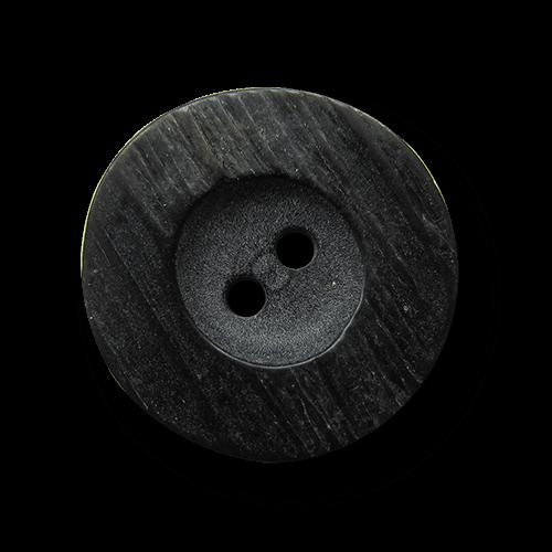 Schwarz mittelbrauner Kunststoff Knopf in Horn Optik