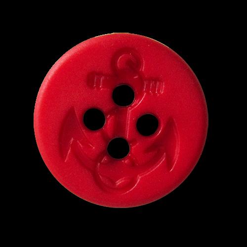 www.knopfparadies.de - 5904ro - Hübsche Kunststoffknöpfe mit vier Löchern in rrot