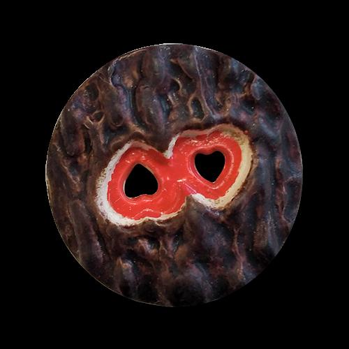 www.knopfparadies.de - 5802rd - Interessante Kunststoffknöpfe mit Herzchen als Löchern
