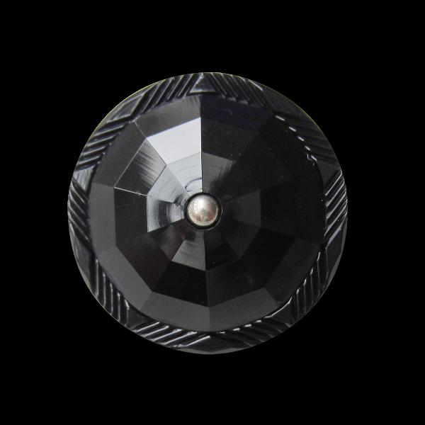 Edler schwarzer facettierter Knopf wie alter Glasknopf