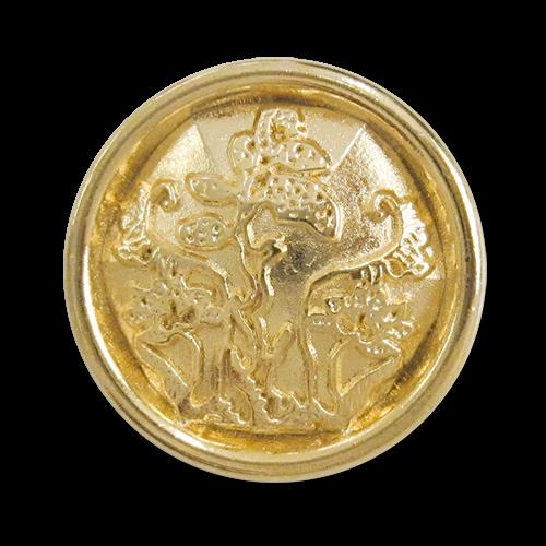 www.knopfparadies.de - 3107gg - Märchenhaft schöne, goldfarbene Metallknöpfe