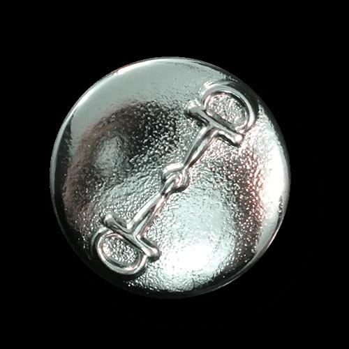 Silberfb. Metallknopf mit Pferde Trense