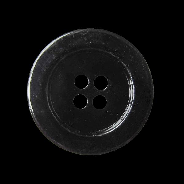 Eleganter schwarz glänzender Vierloch Kunststoff Knopf