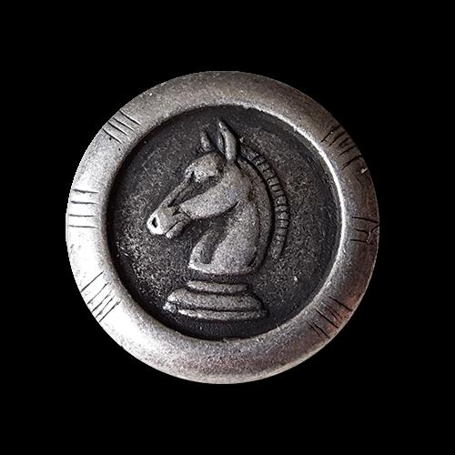 www.knopfparadies.de - 1349pf - Metalllknöpfe mit Schachmotiv: Pferd / Springer