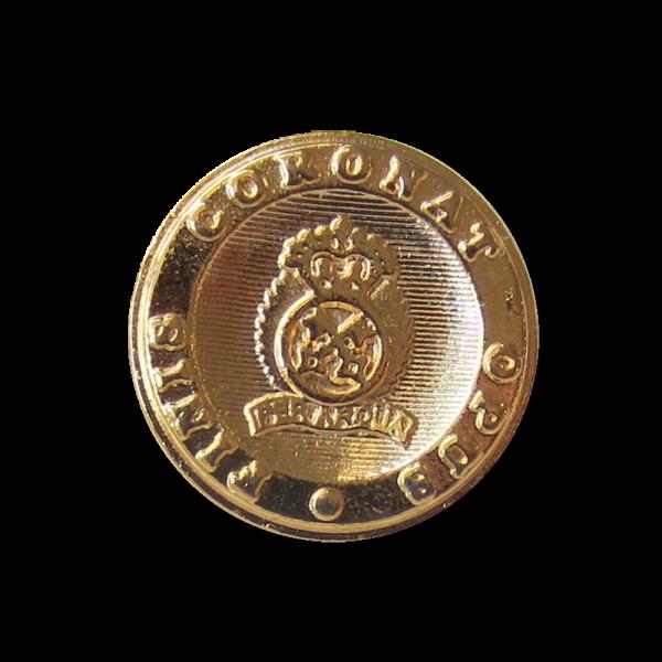 Ösenknopf aus Metall in Gold mit Wappenmotiv