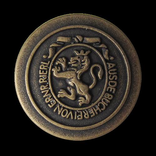 www.Knopfparadies.de - 0311am - Edle Metallknöpfe in Altmessing mit Löwen Motiv