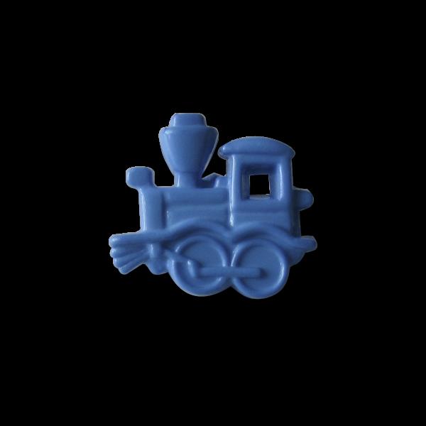 www.Knopfparadies.de - 1440bl - Süße kleine Kinderknöpfe mit blauer Lokomotive