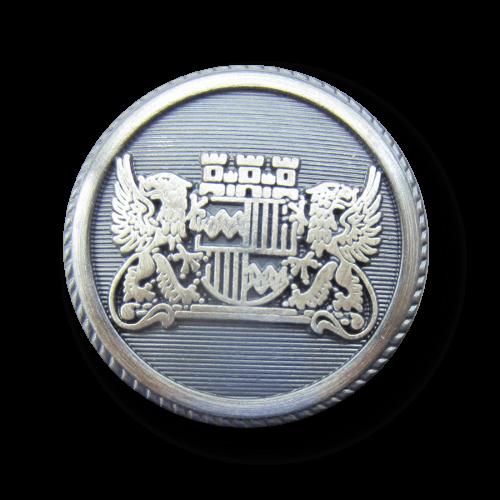 Stahlfarbener Blazerknopf mit Wappen und Sphinx