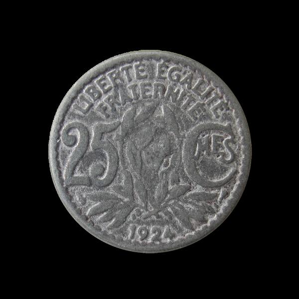 Flacher eisenfarbener Metall Ösen Knopf wie frz. 25 Centime Münze von 1924