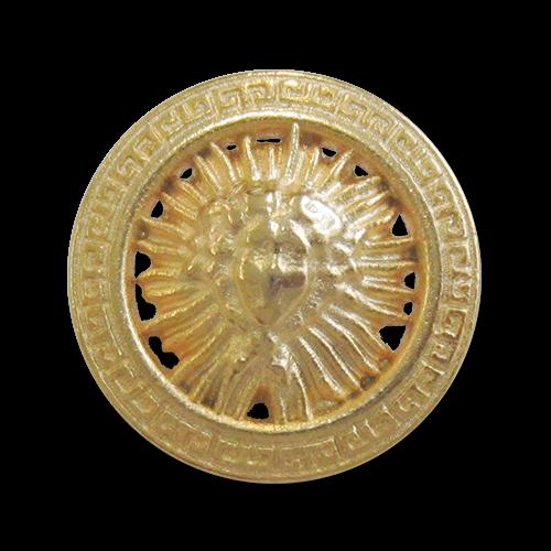 www.Knopfparadies.de - 3159go - Goldene Ösenknöpfe aus Metall mit klassischem Designer Motiv