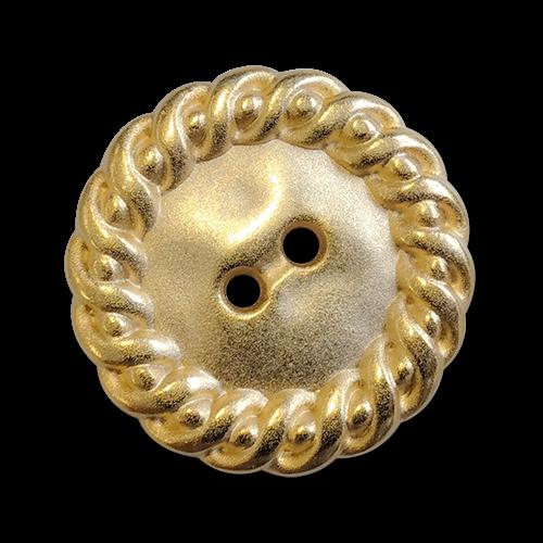 www.knopfparadies.de - 6096go - Goldfarbene Metallknöpfe mit zwei Löchern und breitem Rand