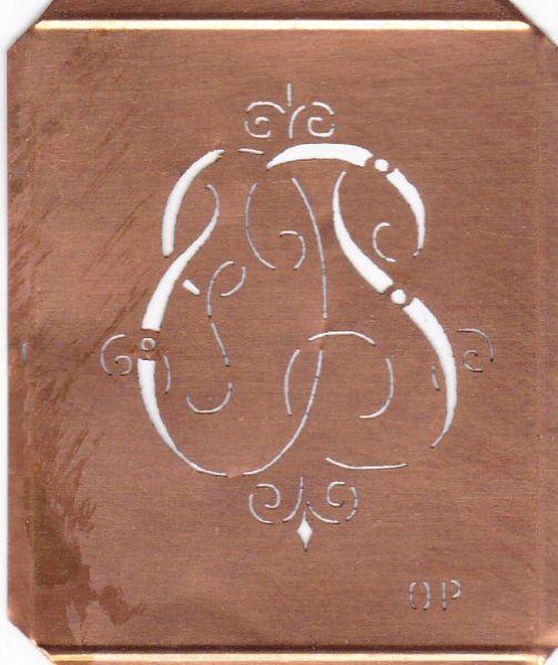 www.knopfparadies.de OP-sch-555 - Verschnörkelte, alte Kupferschablobe zum Sticken von Monogrammen OP