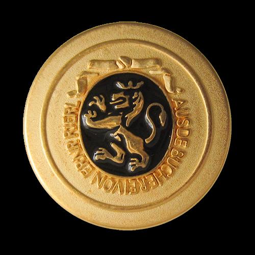 www.Knopfparadies.de - 0311sc - Edle Metallknöpfe in Gold und Schwarz mit Löwen Motiv
