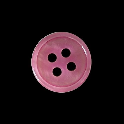 Pinkfarben perlmuttartig melierte Blusenknöpfe in klassischer Form mit schmalem Rand