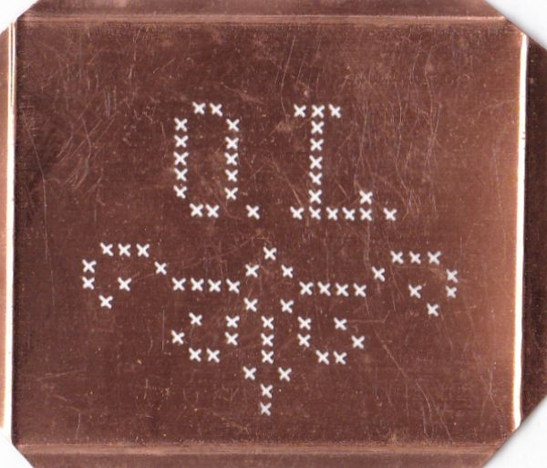Kreuzstich Schablone, Wäsche-Schablone Sticken Kupfer OL