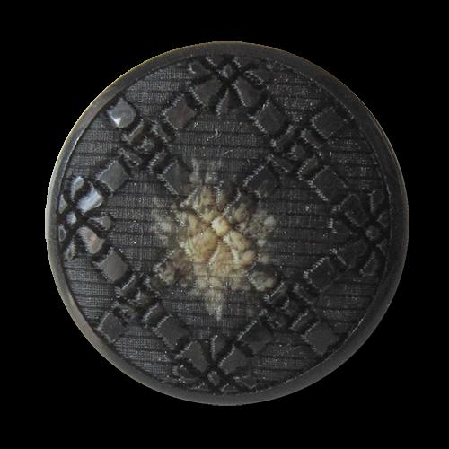 www.Knopfparadies.de - 2824db - Dunkelbraun melierte Ösen Kunststoffknöpfe mit nostalgischem Muster