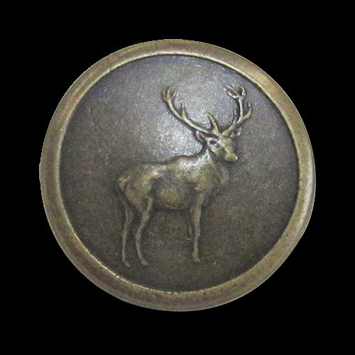 www.Knopfparadies.de - j053am - Altmessingfarbene Ösenknöpfe aus Metall mit Hirschmotiv / B-WARE