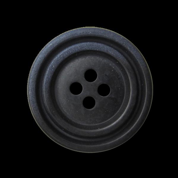 Schwarzer Vierloch Knopf mit blauem Farb Akzent-Copy
