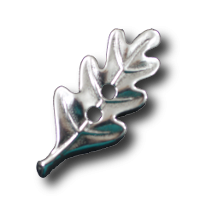 Silberfarbener Eichenblatt-Knopf