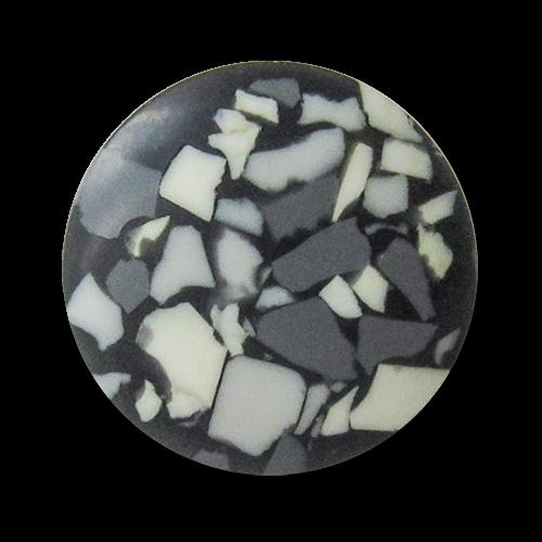 www.Knopfparadies.de - 4226st - Schwarze Ösenknöpfe aus Kunststoff mti weißem & grauen Granulat