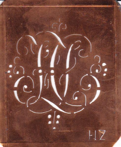 www.knopfparadies.de - HZ-sch-557 - Aussteuerschablone, Wäsche-Schablone Schnörkel Kupfer Monogramm HZ