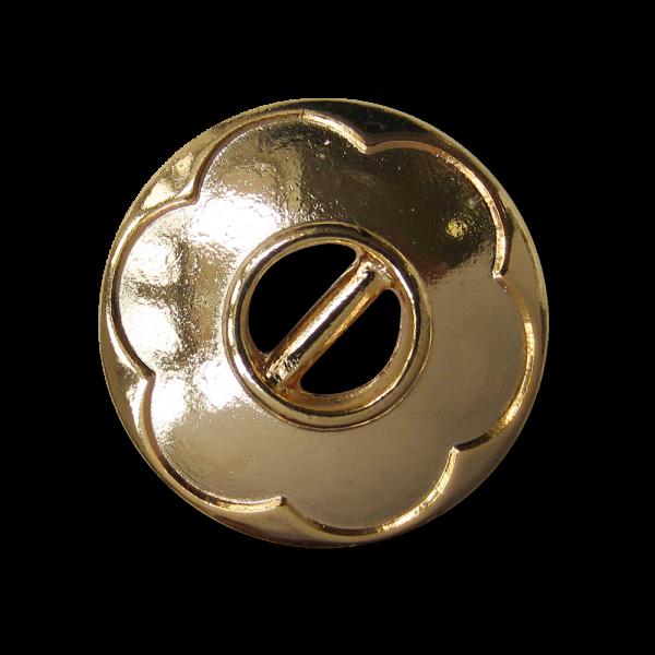 Moderner goldfarbener Steg Metall Knopf mit Blume